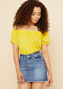 Yellow Washed Off The Shoulder Tied Cuffs Top