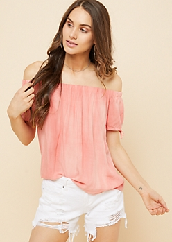 Coral Washed Off The Shoulder Tied Cuffs Top
