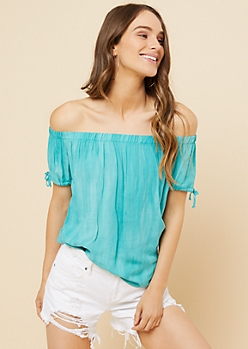 Teal Washed Off The Shoulder Tied Cuffs Top