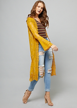 Yellow Sheer Lace Trumpet Sleeve Cardigan