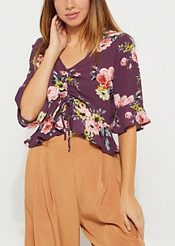Plum Floral Ruched Bust Shirt