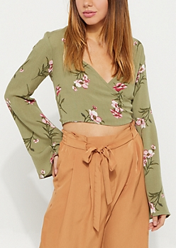 Olive Floral Surplice Cutout Top