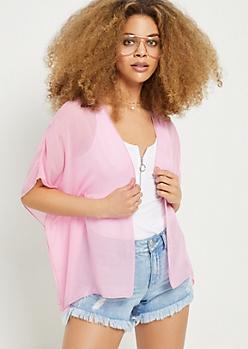 Light Pink Chiffon Kimono