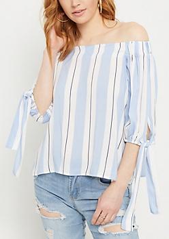Blue Striped Off Shoulder Tie Top