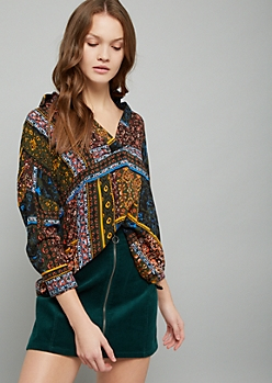 Green Mixed Paisley Print High Low V Neck Blouse