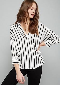 White Striped High Low V Neck Blouse