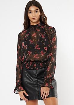 Black Floral Print Sheer Ruffled Top