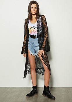 Black Lace Crochet Duster Kimono