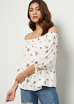 Ivory Floral Print Off The Shoulder Tie Sleeve Top