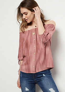 Pink Washed Off The Shoulder Tie Sleeve Top