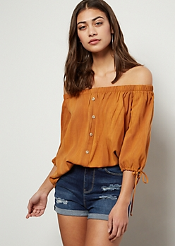 Orange Washed Off The Shoulder Tie Sleeve Top