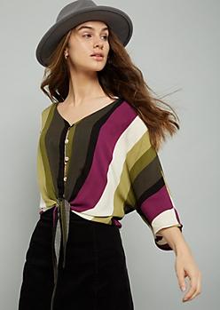 Purple Striped Button Down Tie Front Blouse