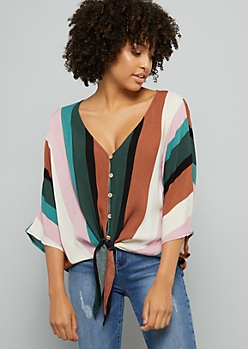 Multi Striped Button Down Tie Front Blouse
