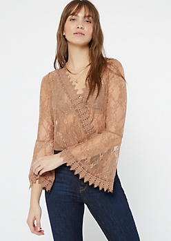 Nude Lace Bell Sleeve Top
