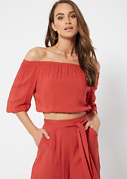 Burnt Orange Off The Shoulder Crop Top