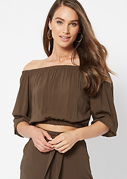 Olive Off The Shoulder Crop Top