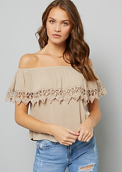 Tan Off The Shoulder Crocheted Trim Blouse