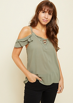 Olive Ruffled Cold Shoulder Lace Up Top