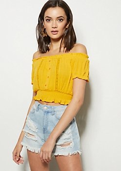 Mustard Swiss Dot Off The Shoulder Crop Top
