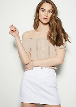 Tan Swiss Dot Off The Shoulder Crop Top