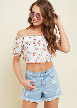 White Floral Embroidery Peasant Crop Top