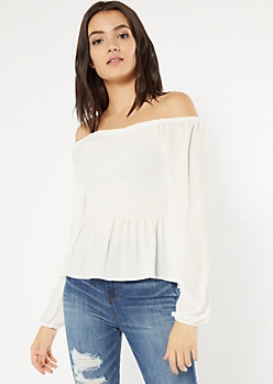 Cream Smocked Bubble Sleeve Peplum Top