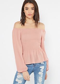 Pink Smocked Bubble Sleeve Peplum Top