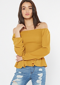 Mustard Smocked Bubble Sleeve Peplum Top