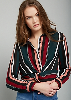 Burgundy Striped Knot Front Crop Top