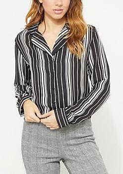 Black Stripe Print Piped Button Down Blouse