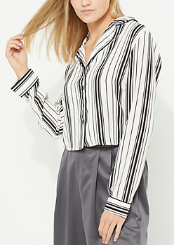 White Striped Piped Shirt