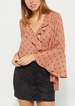 Floral Ruffled Surplice Blouse