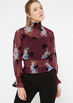 Burgundy Floral Smocked Woven Top