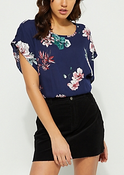 Navy Floral Tie Back Crop Blouse