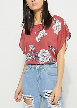 Pink Floral Tie Back Crop Blouse