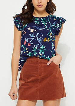 Navy Ruffled Sleeves Floral Crepe Blouse