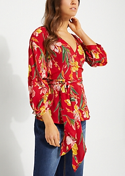 Cinched Sleeve Surplice Red Floral Blouse