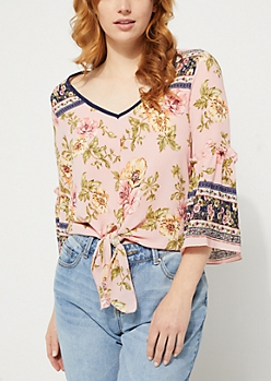 Pink Floral Border Print Tie Front Blouse