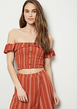 5cfe6397dce88 Burnt Orange Floral Striped Off the Shoulder Smocked Top