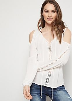 Ivory Crochet Cold Shoulder Top