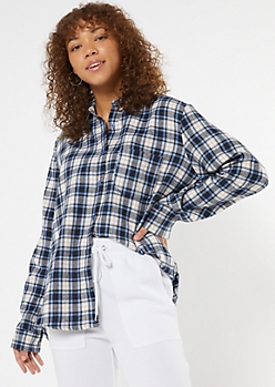 Blue Plaid Boyfriend Flannel Shirt
