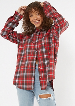 Red Plaid Boyfriend Flannel Shirt