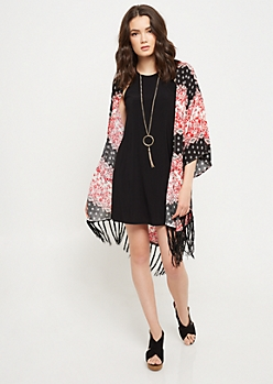 Light Red Floral Print Fringed Kimono