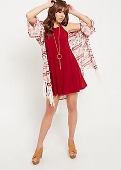 Light Pink Tie Dye Floral Print Fringed Kimono