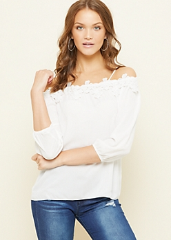 Ivory Crocheted Floral Cold Shoulder Top