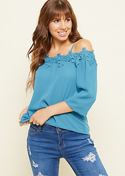 Blue Crocheted Floral Cold Shoulder Top