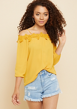 Mustard Crocheted Floral Cold Shoulder Top