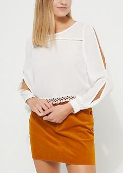White Back Button Down Blouse