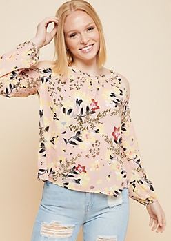 Light Pink Floral Print Cold Shoulder High Neck Top