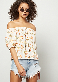 776ce0c48d0 Ivory Floral Print Off The Shoulder Top